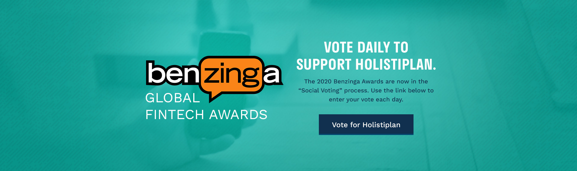 Holistiplan Benzinga Global Fintech Awards Nomination - Vote